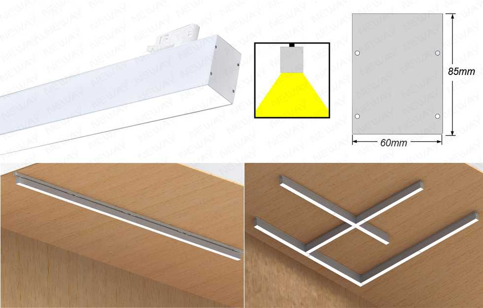 Continuous Track Rail System Led Linear Light For Commercial Use Showcase Track Lighting